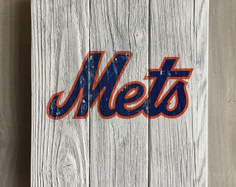Mets gift etsy new york mets handmade sign ny mets vintage look reclaimed wood sign wall sign negle Gallery