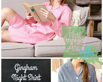 PREORDER Pink or Navy Gingham Check Plaid Ladies Night Gown Button Down Lounge Shirt Pajamas with Monogram Gift for Bride Mom Bridesmaids