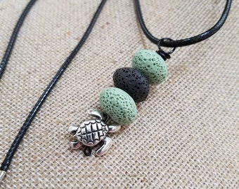 Turtle charm, EO Diffuser Jewelry, Essential oils diffuser necklace, Personal Diffuser Jewelry, Lava Stones, Aromatherapy