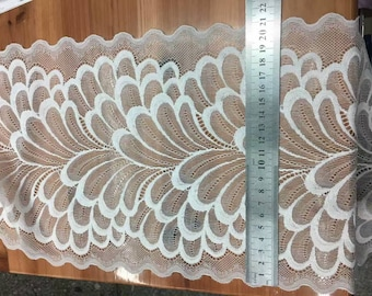 off white Plum flower  wedding lace,Stretch Lace Trim - Extra Wide Lace Trim, 21cm Wide Lace Trim- off white lace
