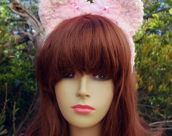 Pink Pastel Pop Fuzzy Bear Ear Headband