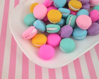 4 21mm Polymer Clay Multicolor Round Macaron Cookie Cabochons, Cute Decoden Macaroon Decoden Cabs #271