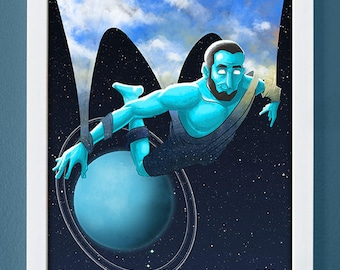 Uranus, art print, planet art, science art, children's art, roman gods, 4X6, 5X7, 8X10