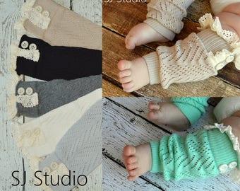Baby Girl Lace Button Leg Warmers - Toddler Leg Warmers - Toddler Boot Socks - Boot Toppers - Girl's Boot Cuffs - Pink Gray Black