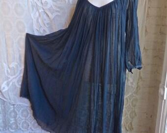 Sheer Navy Indian Gauze Cotton Maxi Dress