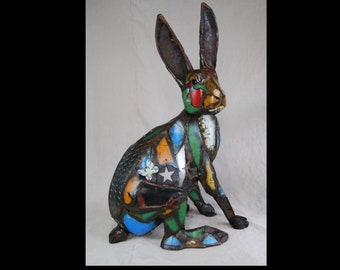 Large Outdoor Metal Rabbit Sculpture Made Out of Found Object by Jacob Novinger