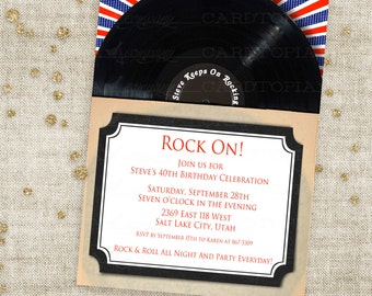 Vinyl Record Rock and Roll Birthday Invitation with Blue and Red Record Sleeve Old School Custom Invites with Professional Printing Option