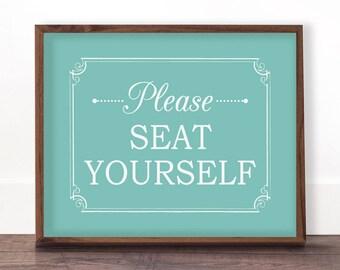 Bathroom Funny Decor, Turquoise Bathroom Decor, Please Seat Yourself Sign, Bathroom Art, Funny Bathroom Signs, Kids Bathroom Art, Printable