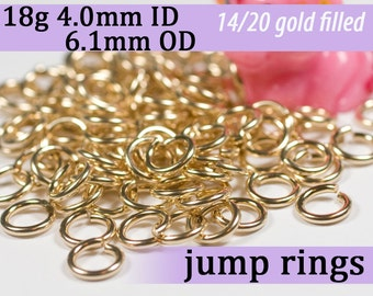 18g 4.0mm ID 6.1mm OD gold filled jump rings -- 18g4.00 goldfill jumprings 14k goldfilled