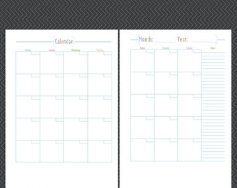 Undated Calendar-A4,A5,Letter-Monthly Calendar-Monthly Planner-Monthly Organiser