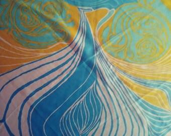 Vintage 70s Sally Gee Mod Silk Scarf