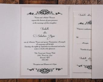 Understated elegance, Natural Wedding Invitation, Traditional Wedding Invitations, raised black ink, Classy wedding invitations, handmade
