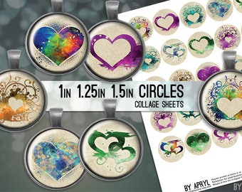 Hearts Valentine Digital Collage Sheet 1in 1.25 and 1.5 Inch Circles for Glass and Resin Pendants Bottle Caps Digital Download JPG