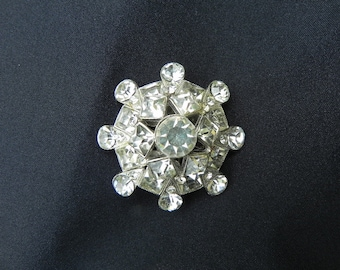 Vintage Crystal Brooch/Pin Art Deco Style Domed Clear  Colored Crystals Silver Tone Metal