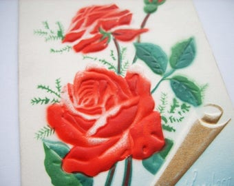 Roses Birthday postal 1970s flowers upcycle recycle repurpose postcard letter emboseed card holiday  vintage paper ephemera