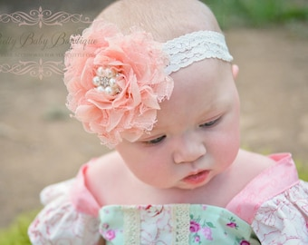 Light Peach Coral Baby Headband - Baby Girl Lace Headband -  Peaches and Cream Headband With Pearls and Lace.... Baby Girl Headband