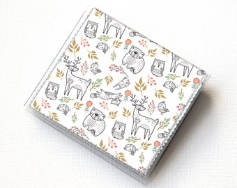Vinyl Moo Square Card Holder - In the Woodland / case, vinyl, snap, wallet, mini card case, moo case, square, woodland animals, vegan