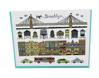 Brooklyn greeting card, Brooklyn bridge card, New York taxi card, Brooklyn brownstones, water towers, yellow cab, NYPD FDNY blank card