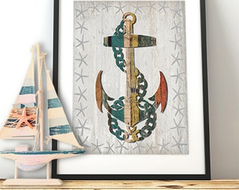 Anchor print - Distressed Wood Effect Anchor 1 Anchor wall décor Anchor décor Anchor gift for navy wife gift for boyfriend Nautical wall art