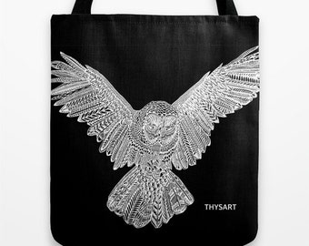 Owl tote, cotton bag by THYSART