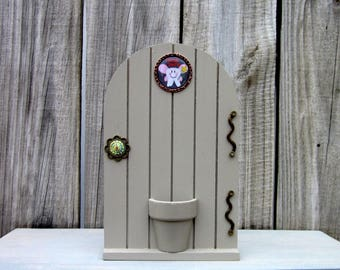 Tooth Fairy, Fairy Door, Gray, Tooth Holder, Money Holder, Childs Tooth, Painted Wood, Lost Tooth, Childs Gift