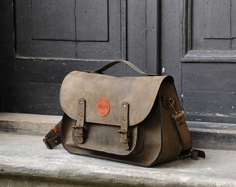 leather messenger backpack office bag Ladybuq khaki