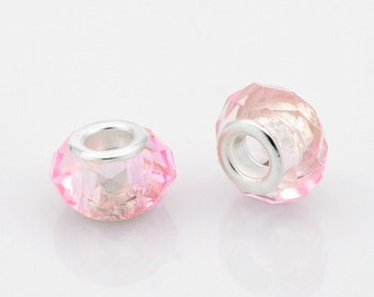 2 European beads faceted pink clear brass 14 x 10 mm beads with large hole 5 mm, for Bracelets European snake, leather, stiff