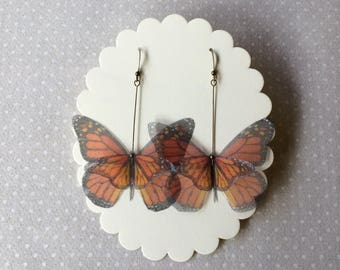 Handmade Silk Organza Fabric Orange Monarch Butterfly Earrings - Ready to Ship