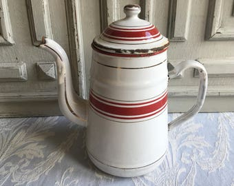 French enamel coffee pot superb striped red and white vintage, vase, jug, Bordeaux red 1930's, cafétiere, enamelware antique country decor