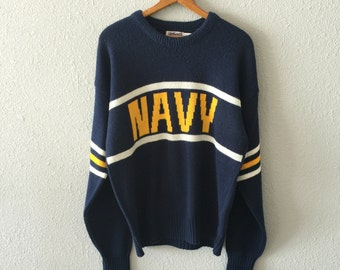 1984 Navy American Military Vintage Cliff Engle Knit Men's Sweater
