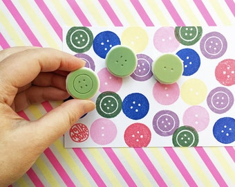 sewing button rubber stamps | diy birthday mother's day card making | craft gift for her | hand carved by talktothesun | set of 3 | medium