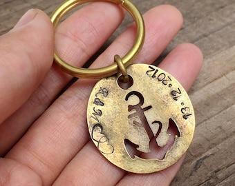Anchor charm keychain, Bronze Anchor key chain, couples initials anniversary date, Boyfriend, husband, custom keychain, personalized keyring