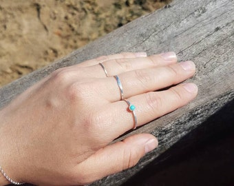 Silver turquoise ring, delicate ring, December birthstone ring, sterling silver ring, stacking ring, skinny ring, gemstone ring