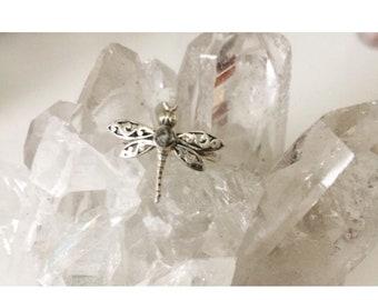 Dragonfly raw Herkimer diamond sterling silver sz 7.25 ring