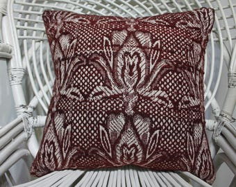 burgundy pillow floral pillow indoor pillow bedding sham 18x18 turkish vintage pillows kelim kissen throw pillow 45x45 cm cushion cover 2541