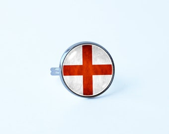 St George Cross Rings English flag Patriotic ring England jewelry Unique gift Flag of England Flag sign ring Patriotic jewelry Flag ring