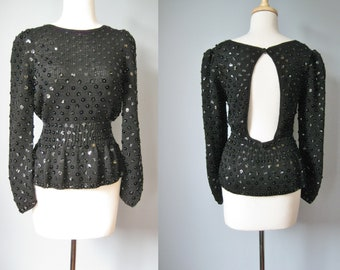 Black Beaded Sweater / Vtg 90s / Nanell Open Back Peplum Sequined and Beaded sweater /Size M