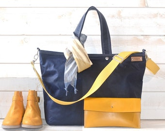 Waxed canvas tote, Carry all Leather bag Diaper bag, Messenger bag Navy, Leather straps, Men messenger, Travel bag, Zipper