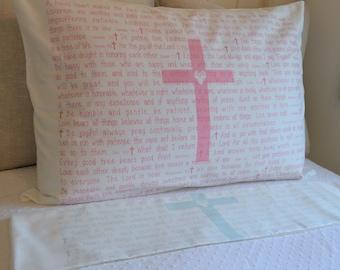 PillowGrace Heart Cross Pillow Case, Scripture Pillow Case, Cross Pillow Case