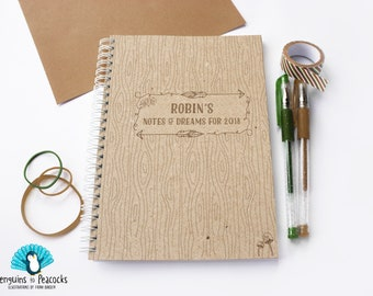 Personalised notebook, bullet journal, book, jotter, stationery. Nature theme A5 logbook/journal. Recycled. Perfect gift.