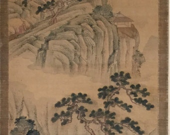 Attribute to Yuan Dy. (1260-1368) Chinese landscape silk painting scroll fine painted a scholar visiting their friend's cliff house 元代浅绛山水人物