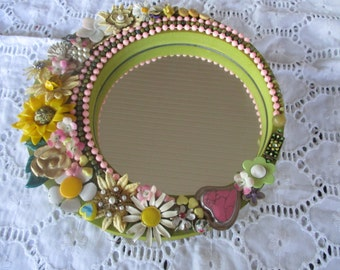 Round Wall Mirror Jeweled Pinks Yellows on Green