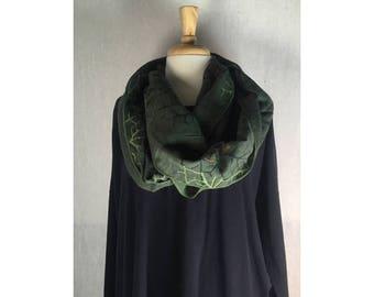 Infinity Boho Loop Circle Scarf - Dark Green Linen w/ Organic Art  Hand printed Scarves  Ready to Ship