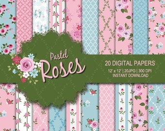Rose digital paper, Flower digital paper, Pink digital paper, Sky blue digital paper, Rose printable, commercial use, rose digital