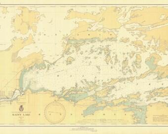 Rainy Lake Map - International Falls to Dryweed Island - Boundary Waters - 1936