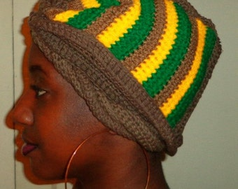 Golden at Dusk, Crochet Cylinder Twist African Headwrap
