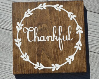 Thankful Sign | Wood Sign | Wall Art | Be Thankful | Wooden Sign | Gallery Wall