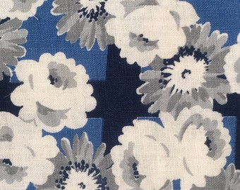 FQ Blue Navy Blue Gray Rose Daisy Flowers Vintage Full Feedsack Flour Sack Cotton Quilt Floral Fabric