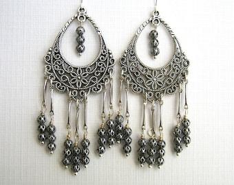 Antique Silver Filigree Chandelier Earrings Long Chandelier Earrings