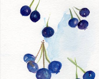 Blueberries Watercolors Painting original ART, 5 x 7, Fruit watercolor, original watercolor painting of blueberries, kitchen decor